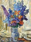 Louis Valtat - Lilies and Delphiniums Stoneware Pitcher