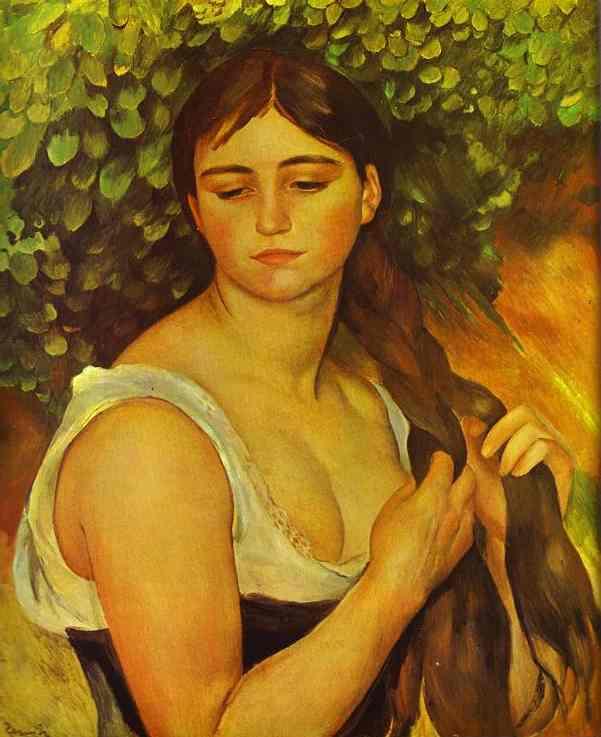 Pierre-Auguste Renoir - Girl Braiding Her Hair (Suzanne Valadon)