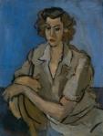 Henri Catargi - Femeie sezand pe fond albastru