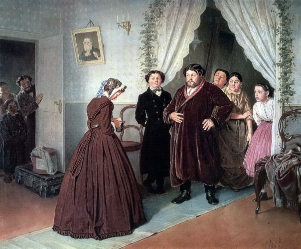 Vasily Perov - Arrival of a New Governess in a Merchant House