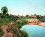 Isaac Levitan - The village on the banks of the river. 1883