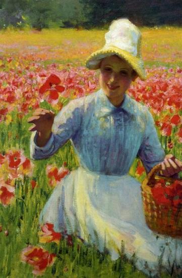Robert Vonnoh - Girl with Poppies