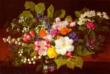 Otto Didrik Ottesen - A Bouquet Of Spring Flowers On A Ledge