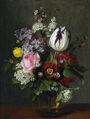 Otto Didrik Ottesen - A still life with a rose, a tulip, pansies and other flowers in a glass vase