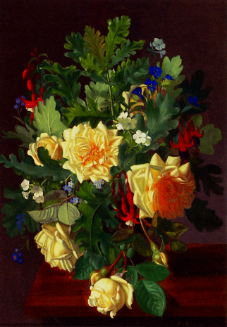 Otto Didrik Ottesen - A Still Life With Yellow Roses And Freesia