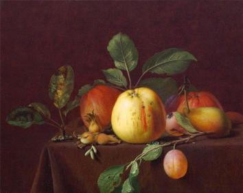 Otto Didrik Ottesen - Autumn fruits and nuts on a table