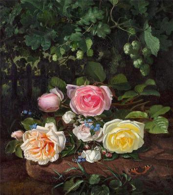 Otto Didrik Ottesen - Brogede roser og humlegrene ved et stakit