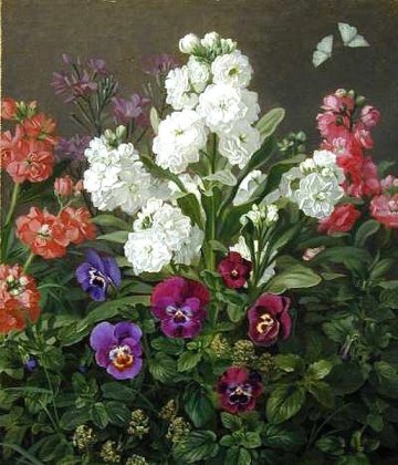Otto Didrik Ottesen - Still life of Phlox and Pansies