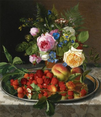 Otto Didrik Ottesen - Still life with roses and strawberries on a silver salver