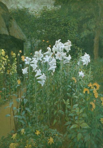 Walter Crane - Madonna Lilies in a Garden