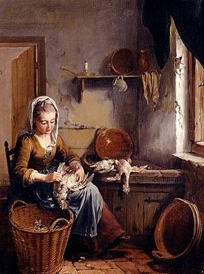 Willem Joseph Laquy - A scullery maid preparing a chicken