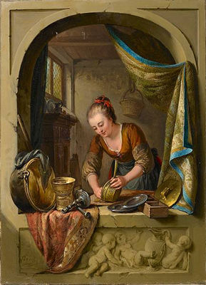 Willem Joseph Laquy - A young woman cleaning pans at a draped stone arch.