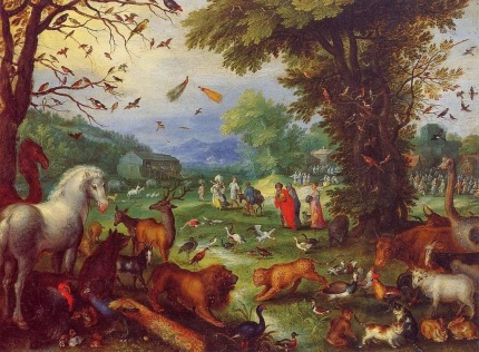 Jan Breughel the Elder - Landscape of Paradise and the Loading of the Animals in Noah's Ark
