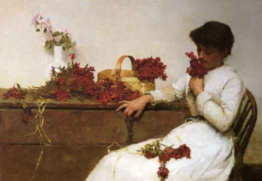 Frank Bramley - Arranging Flowers
