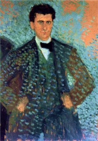 Richard Gerstl - Self-portrait with Blue Spotted Background, 1907