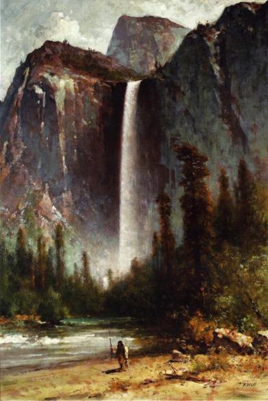 Thomas Hill - Ahwahneechee - Piute Indian at Bridal Veil Falls, Yosemite