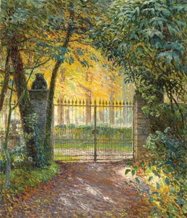 Emile Claus - The gate of villa. Sunshine
