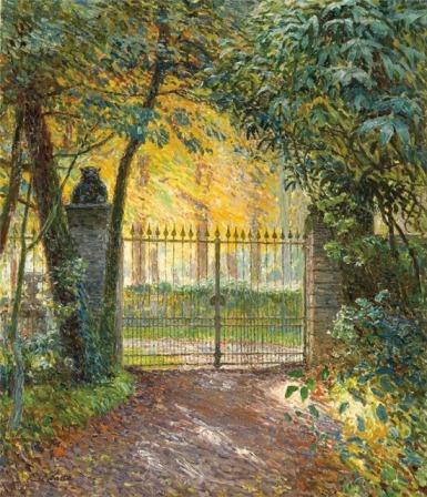 Emile Claus - The gate of villa. Sunshine