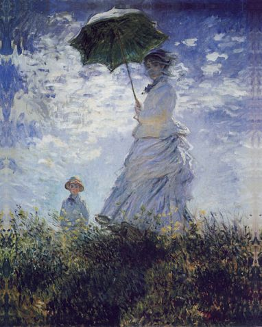 Claude Monet - A Women with umbrella(Painters wife with son)