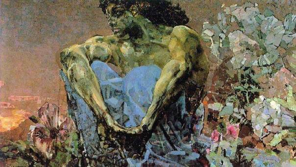Mikhail Vrubel - Demon Seated in a Garden